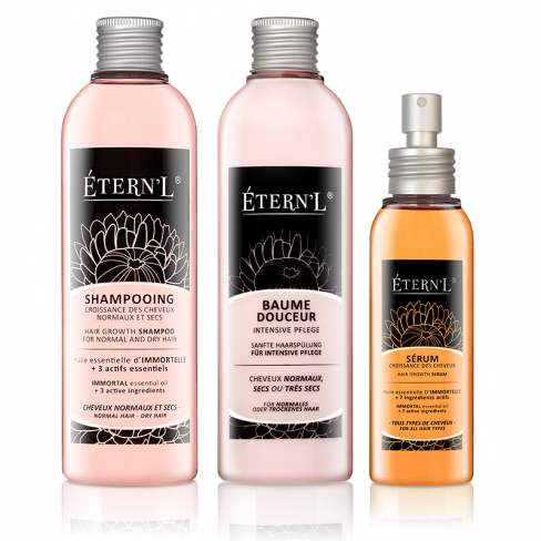 Etern'l Haarwachstumstheraphie: Shampoo, Serum, Pflegebalsam